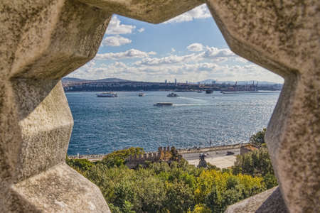View of the Bosporus through the stone rosette from Topkapi Palace in Istanbul. photo