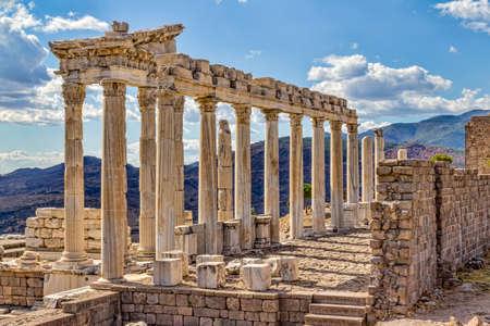 Temple of Trajan at Acropolis of Pergamon or Pergamum in Turkey. Roman period.