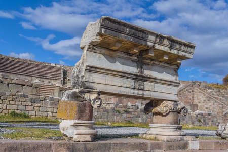 colonade: Street colonade detail with Roman inscription in front of the Theater of Asklepion in Pergamon or Pergamum, Bergama, Turkey. Stock Photo