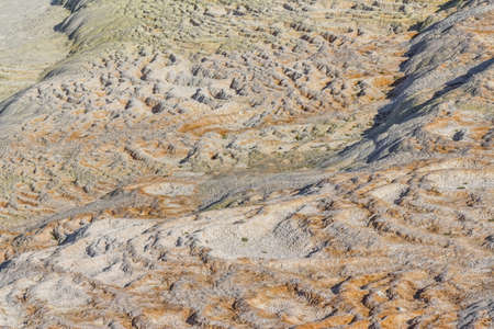 anatolia: Famous travertine terraces detail in Pamukkale (ancient Hierapolis), Anatolia, Turkye.