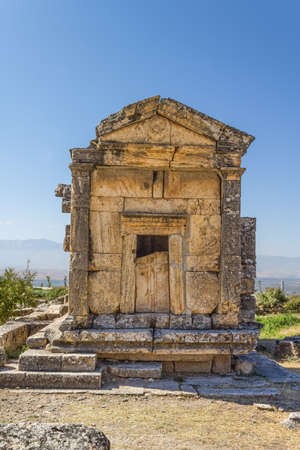 conserved: The best conserved tomb in Northern Necropolis in Hierapolis, Pamukkale, Turkey. HDR image process.