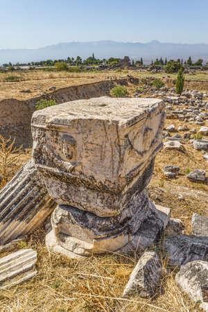 remains: Remains of Agora in Hierapolis, Pamukkale, Turkey.