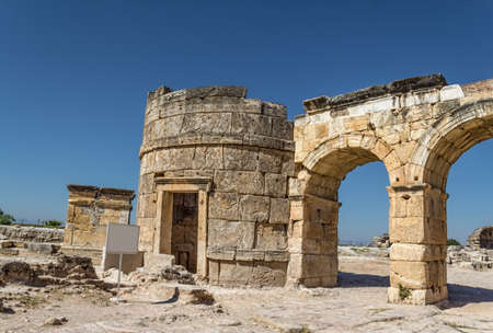 Fortinus gate in the Roman time city Hierapolis, Pamukkale, Turkey. photo
