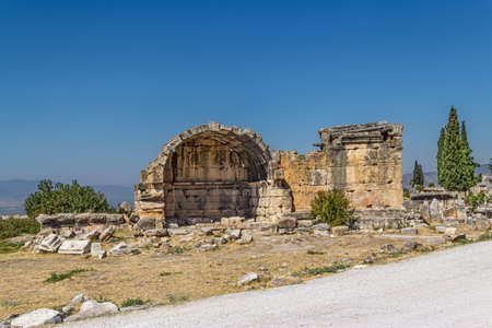 conserved: The best conserved tomb in Northern Necropolis in Hierapolis, Pamukkale, Turkey. Stock Photo