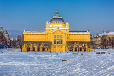 ZAGREB, CROATIA - FEBRUARY 13: Winter scene with old art gallery building recently renovated on February 13, 2012 in Zagreb, Croatia.