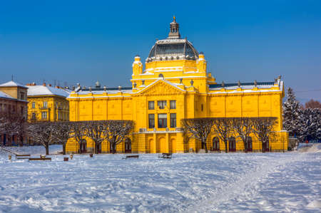 ZAGREB, CROATIA - FEBRUARY 13: Winter scene with old art gallery building recently renovated on February 13, 2012 in Zagreb, Croatia. Stock Photo - 12262197
