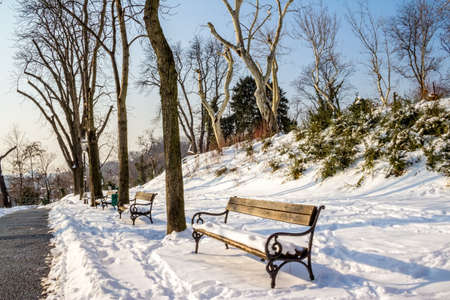 Upper Town or Gradec and the Strossmayer promenade covered with snow. Zagreb capitol of Croatia. Stock Photo - 12906218