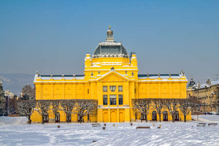 Winter scene with old art gallery building recently renovated  Zagreb capital of Croatia  Stock Photo - 12903821