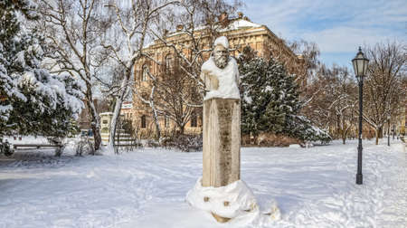 ZAGREB, CROATIA - FEBRUARY 13: August Senoa statue in front of Croatian academy of arts and science on February 13, 2012 in Zagreb, Croatia. Stock Photo - 12818254