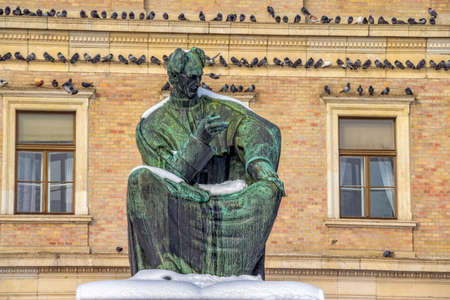 ZAGREB, CROATIA - FEBRUARY 13: The statue of Josip Juraj Strossmayer made by world known sculptor Ivan Meštrovic in front of the building Croatian academy of arts and science on February 13, 2012 in Zagreb, Croatia. Stock Photo - 12818253