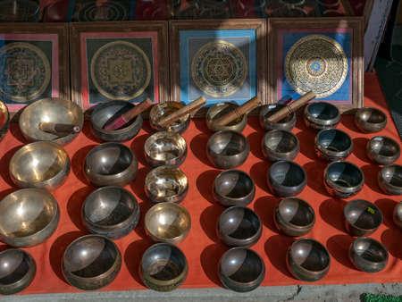 singing bowls: Singing bowls - street shop, Dharmshala India