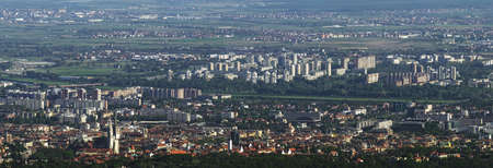 Aerial view of Zagreb, capital of Croatia. River Sava panorama. photo