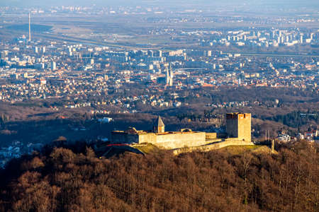 Aerial view of Zagreb over the old town Medvedgrad, capital of Croatia. photo