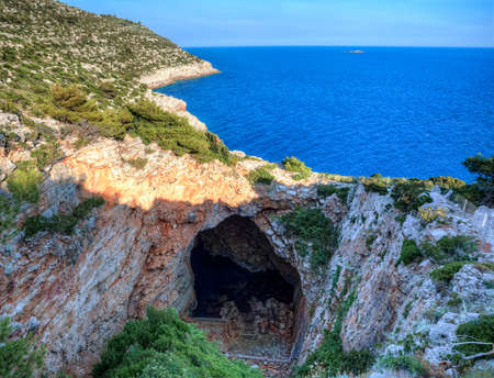 Odysseus cave on island Mljet near Dubrovnik, Croatia  HDR image process  Stock Photo