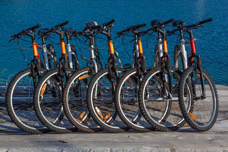 Rent-a-bike  Raw of bicycles ready for renting  Stock Photo
