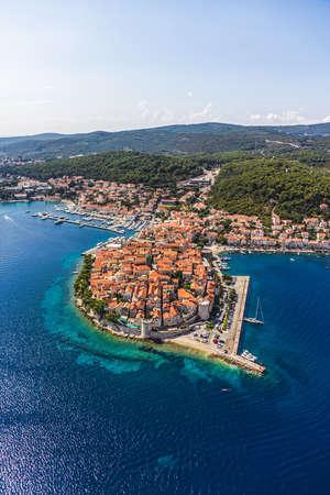 dubrovnik: Aerial helicopter shoot of Korcula old town. Dubrovnik archipelago - Elaphites islands