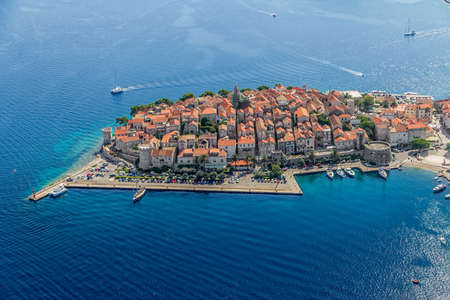 Aerial helicopter shoot of Korcula old town. Dubrovnik archipelago - Elaphites islands