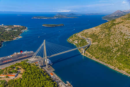 Aerial helicopter shoot of Dubrovnik bridge - entrance to the city Stock Photo - 15357784
