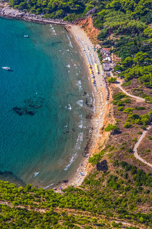 Sandy beach on Elaphites island Lopud - Dubrovnik archipelago. photo