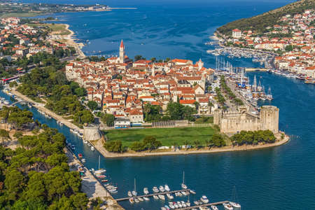 Trogir old town panorama with Kamerlengo Castle in front. Editorial