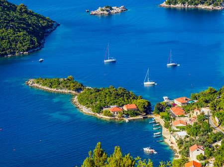 Adriatic landscape panorama on island Mljet, Dubrovnik archipelago, Croatia. 免版税图像