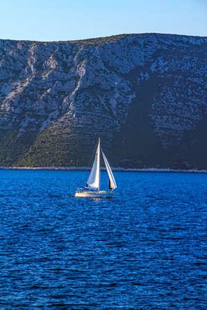 dalmatia: Sailing in Dubrovnik archipelago near island Mljet, Croatia.