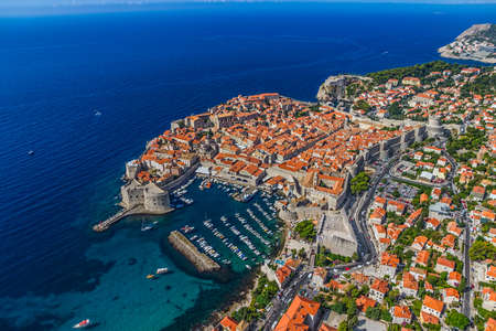 Aerial helicopter shoot of Dubrovnik old town. photo