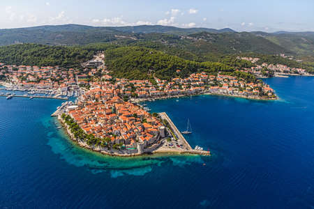 dalmatia: Aerial helicopter shoot of Korcula old town. Dubrovnik archipelago - Elaphites islands