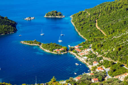 Adriatic landscape panorama on island Mljet, Dubrovnik archipelago, Croatia. photo