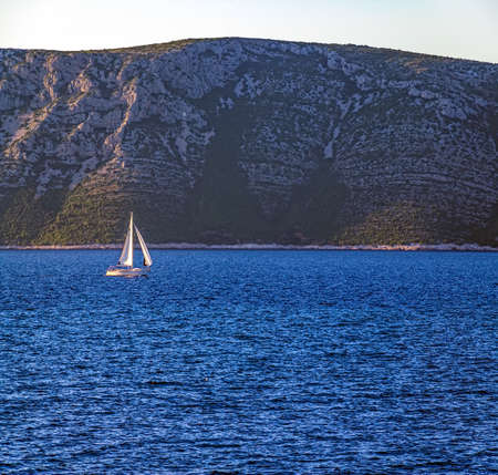 Sailing in Dubrovnik archipelago near island Mljet, Croatia. Stock Photo - 15770807