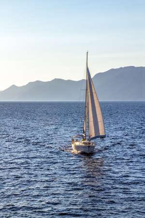 Sailing in Dubrovnik archipelago near island Mljet, Croatia. Stock Photo - 15770544