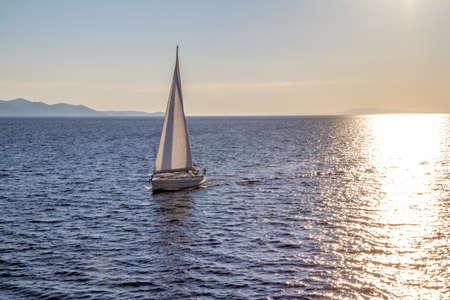 Sailing in Dubrovnik archipelago near island Mljet, Croatia. Stock Photo - 15770550