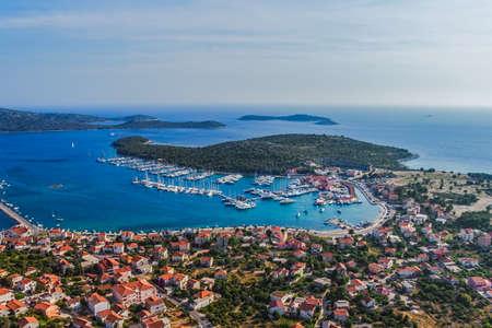 Aerial helicopter photo of marina with boats and sailboats, Adriatic tourist destination Rogoznica, Croatia Stock Photo - 15770793