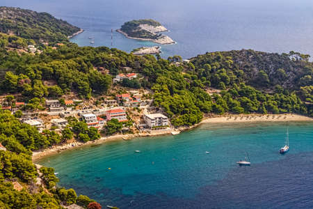 Aerial helicopter photo of sandy beach on island Mljet, near Dubrovnik, Croatia Stock Photo - 15771143