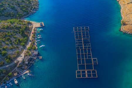fish farm: Adriatic scene - fish farm from above, Croatia