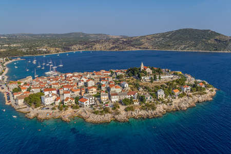 Primosten old town panorama. Helicopter aerial shoot. Stock Photo