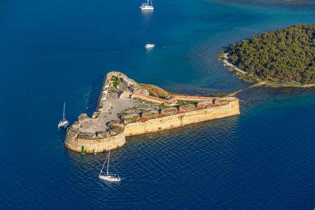 Aerial helicopter shoot of St. Nicholas Fortress - Sibenik archipelago, Croatia.