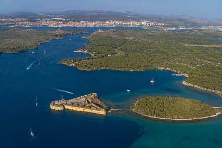 nicholas: Aerial helicopter shoot of St. Nicholas Fortress - Sibenik archipelago, Croatia.