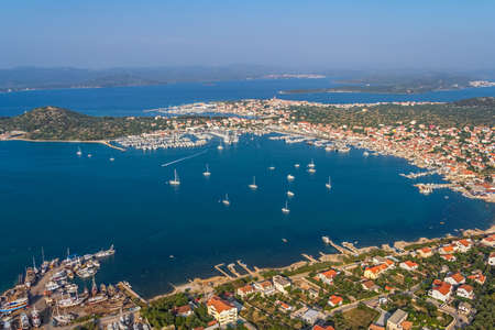 murter: Adriatic tourist destination island Murter, Croatia.  Helicopter aerial shoot. Stock Photo