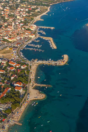 Adriatic tourist destination Pakostane, Croatia.  Helicopter aerial shoot. photo