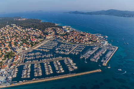 tourist destination: Marina with boats and sailboats, Adriatic tourist destination Biograd, Croatia Stock Photo