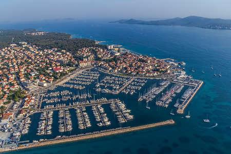 Marina with boats and sailboats, Adriatic tourist destination Biograd, Croatia Zdjęcie Seryjne