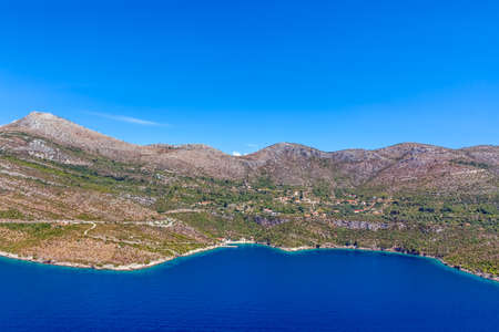 Croatian landscape near Dubrrovnik shot from helicopter with  small rocky beach. Stock Photo - 16587169