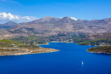 Aerial helicopter shot of croatian landscape near Dubrovnik,. Stock Photo - 16693939