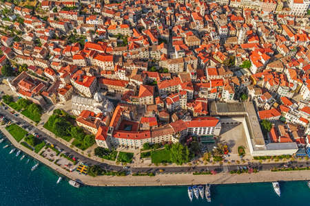 Adriatic tourist destination Sibenik, Croatia.  Helicopter aerial shoot. Stock Photo - 16680307