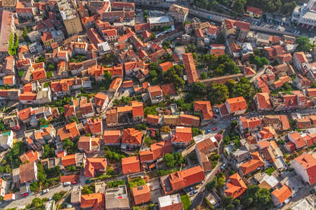 Adriatic tourist destination Sibenik, Croatia.  Helicopter aerial shoot. Stock Photo - 16694338