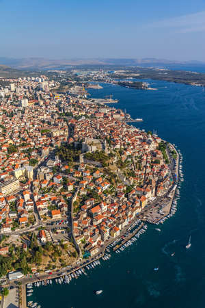 Adriatic tourist destination Sibenik, Croatia.  Helicopter aerial shoot. Stock Photo - 16694316