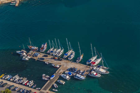 Marina with boats and sailboats, Adriatic tourist destination Tisno - Murter, Croatia photo