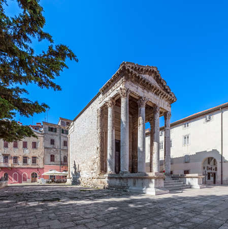 Temple of Roma and Augustus in Pula main square, Croatia photo