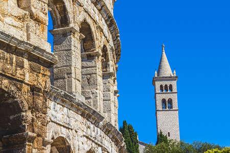 colonade: Roman time arena in Pula, detail, Croatia Editorial